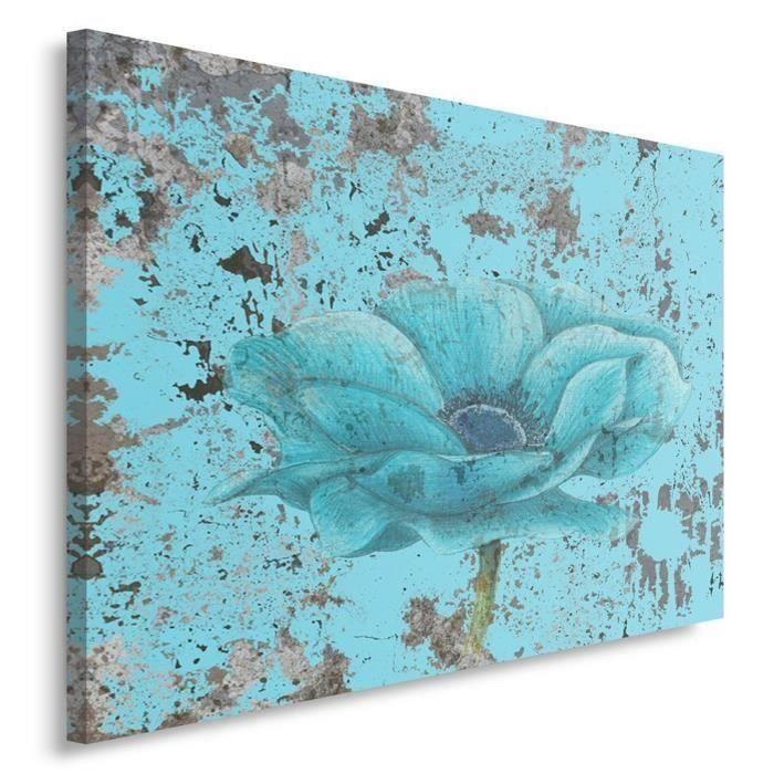 tableau d co mural imprim 40x50 abstraction fleur turquoise achat vente tableau toile. Black Bedroom Furniture Sets. Home Design Ideas