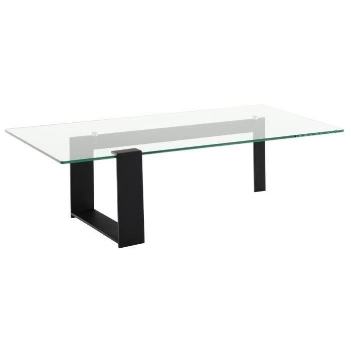 Gaia table basse 120cm plateau en verre tremp noir - Table basse en verre trempe ...