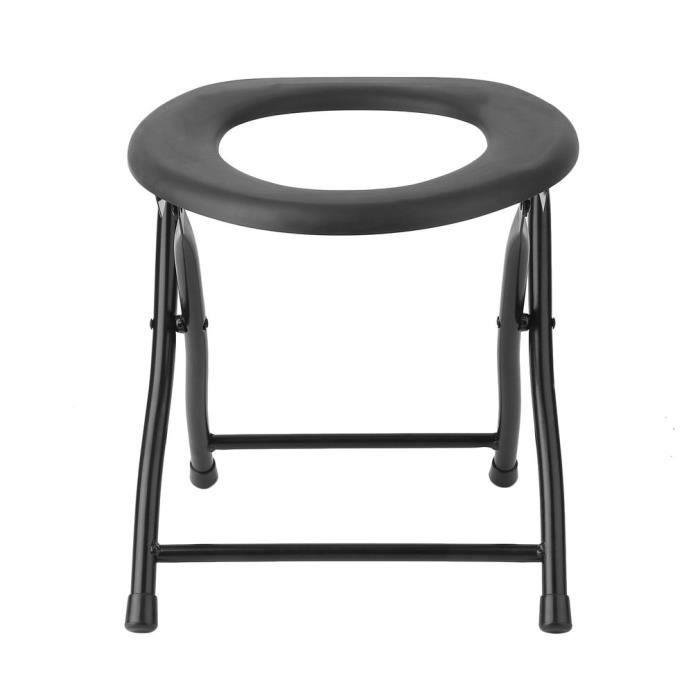 LESHP Portable Pliant Chaise De Toilette Cadre En Acier Pour Le Voyage Plein Air Camping Noir