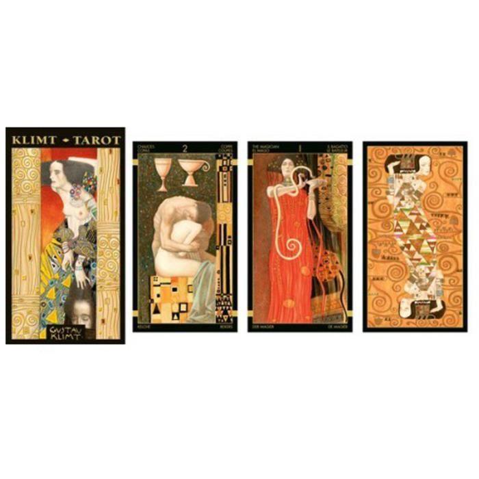 PENDULE DIVINATOIRE Tarot Créateur 'Gustav Klimt' doré multicolore - 1