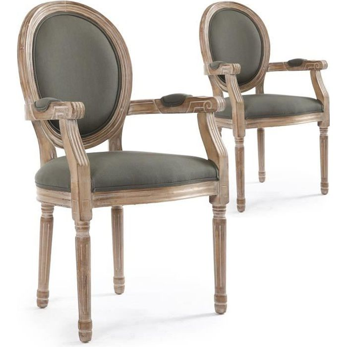 b63d6832737fe Lot de 2 chaises médaillon Louis XVI Cosy Tissu Gris - Achat / Vente ...