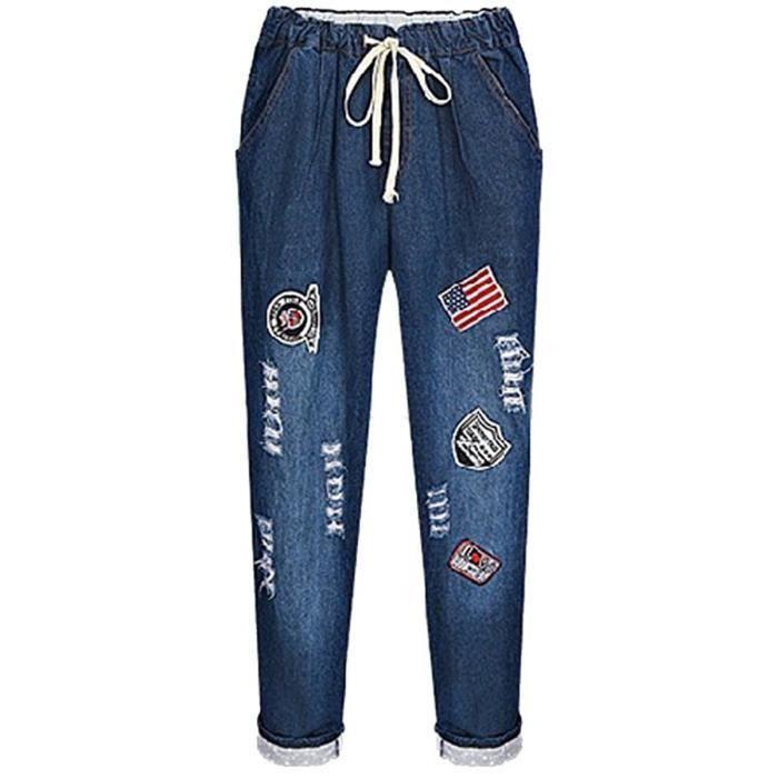 femme 2016 automne dernier GRANDE de TAILLE pantalon jeans modèle le twqfAB