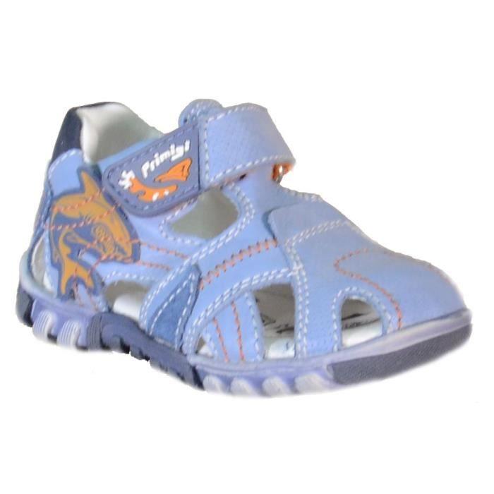 Primigi Sandales pour Garçon Bleu Claire Cuir Velcro 81233 rvKzW