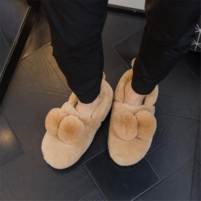 Chiens Chaussons Mignon Confortable Coton Chaussure Chaud Hiver Couple Plus De Cachemire Homme Chausson Grande Taille 41-46 6och6
