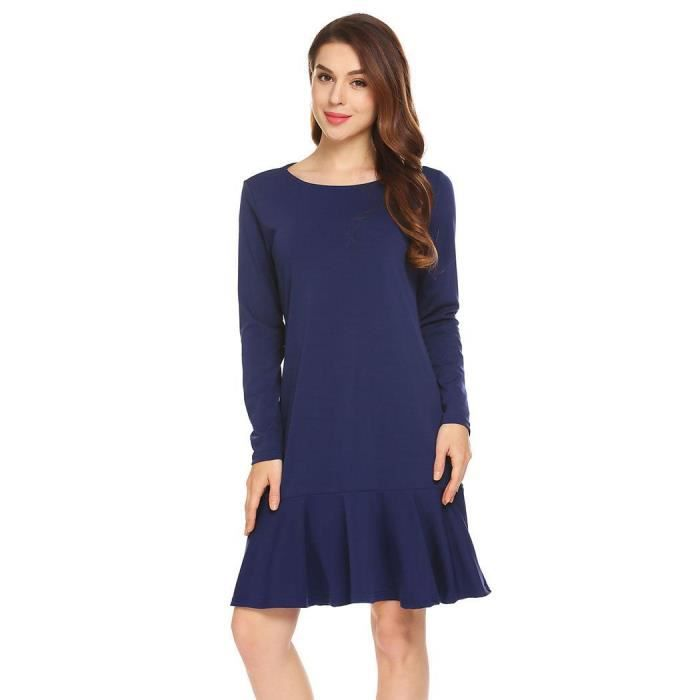 Robe Femmes solides manches longues volants Hem Casual Loose Fit Shift