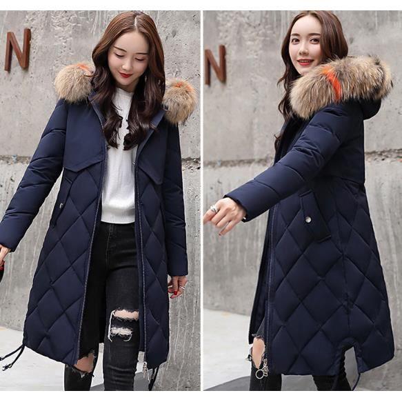 couleurs et frappant divers design achat authentique 2018 nouveau Doudoune Hiver Femme manteau fourrure Capuche long parka Veste  Mince Grande taille.