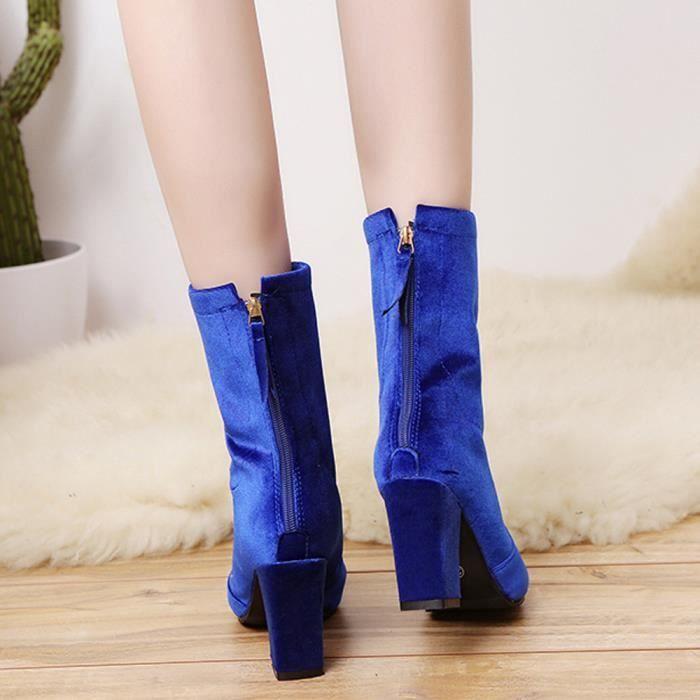 Boucle Dames Chaussures Bottines Chaudes Martin Zareste®femmes Hauts bleu Bottes Talons Faux A711pq