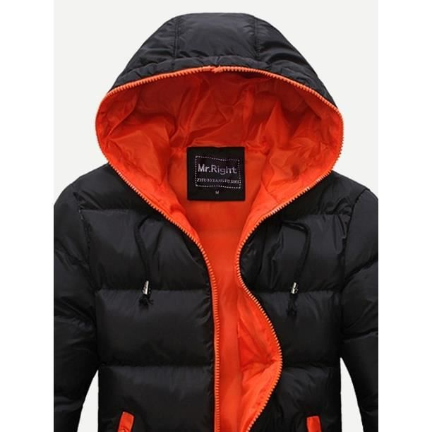 Hiver Longues Zip Manteau À Doudoune Avec Homme Cotton 100 Aver Capuche Noir HxZn6Bw