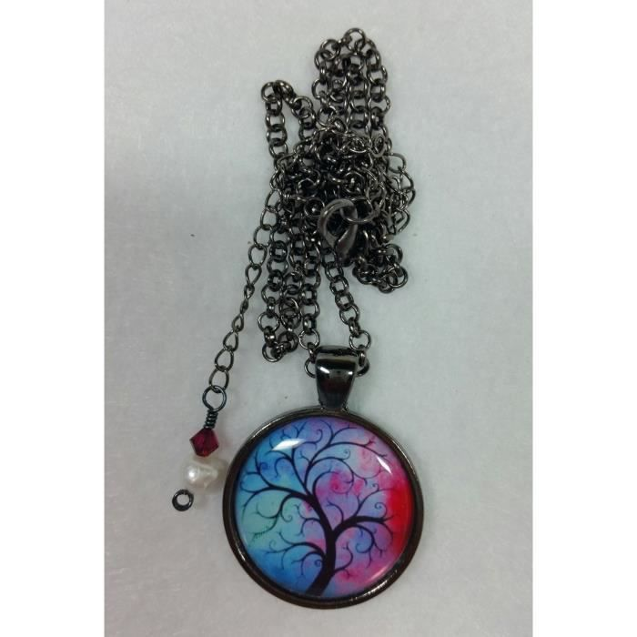 Womens Tree Of Life Pendant With Red Blue Background Adjustable Size Necklace C948I