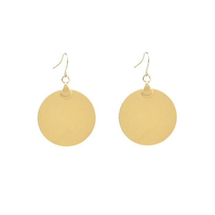 Bijoux mode 2018417 boucle doreille ronde marée personnalité cerceau pendentif en baisse de femme