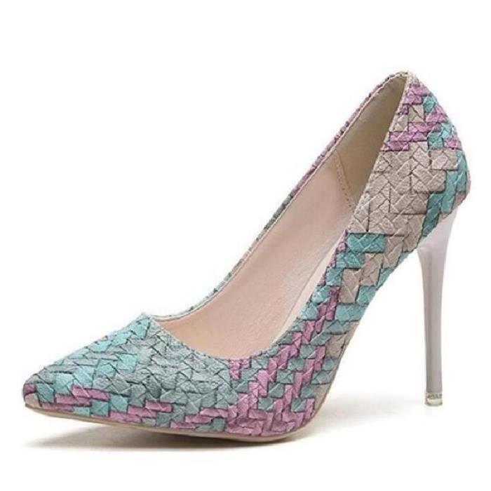 SHELOVEIT® Chaussures à Talons Hauts Aigu Femme Escarpin Couleur Rose pâle