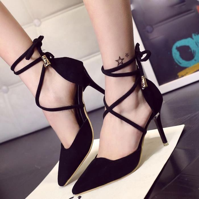 Summer Gladiator femmes sandales chevilles à talons hauts chaussures à attaches peu profondes