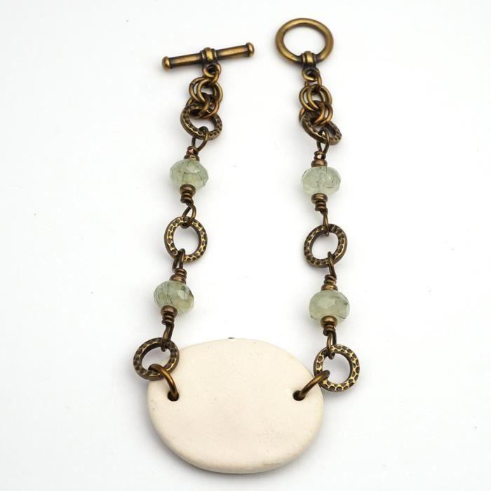Vert Céramique et laiton Femmes Noeud celtique Bracelet avec perles Prehnite 7 1-2 pouces de long X5URW