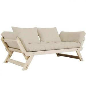 FUTON Banquette méridienne style scandinave futon taupe