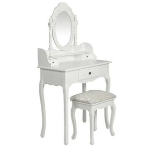 COIFFEUSE Mode Coiffeuse avec miroir et tabouret Blanc