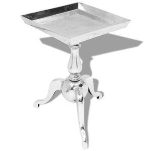 TABLE BASSE vidaXL Table auxiliaire carrée Aluminium Argenté