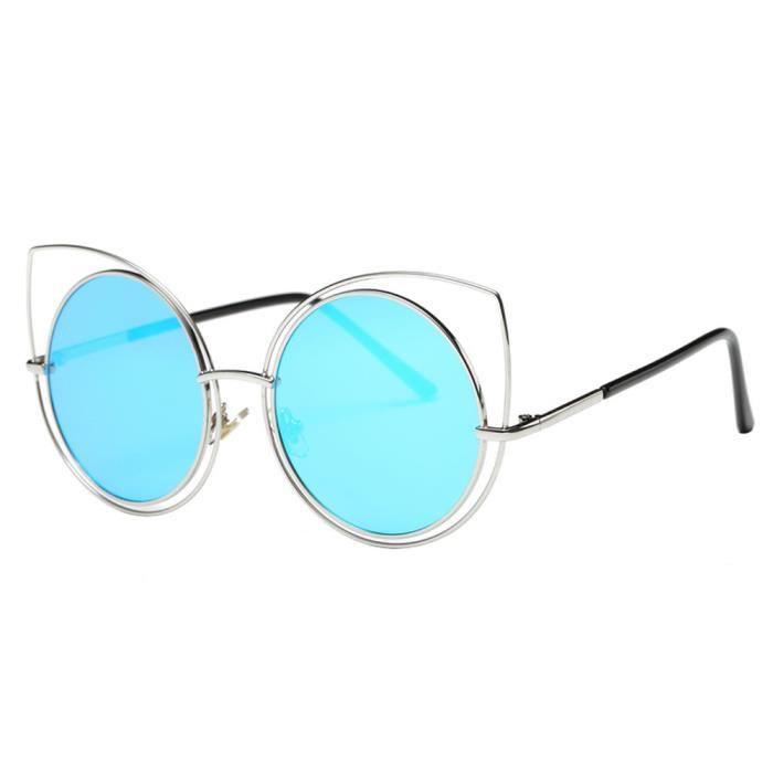 Femmes Mode nez Lunettes de soleil chat Metal Frame Lunettes de soleil Marque classique Tone Mirr bleu-LJL70310131BU_1234