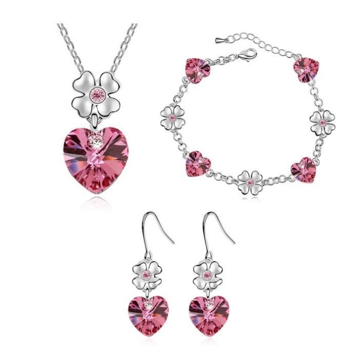 Saphira fashion. Parrure collier, bracelet et boucles doreille argentées .Cristal Autrichien rose . imitation cristal . coeur ...