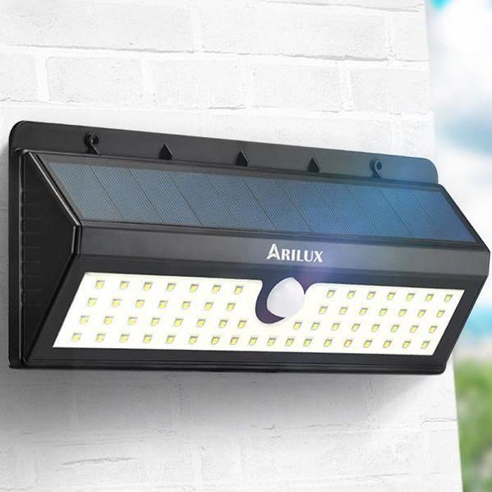 62 LED Lampe Solaire Extérieur Détecteur de Mouvement Éclairage Jardin  Etanche