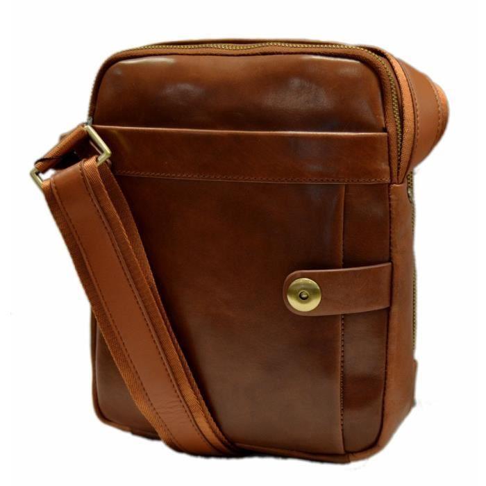 Sac en cuir sac à bandoulière homme femme marron sac dépaule bandoulière en