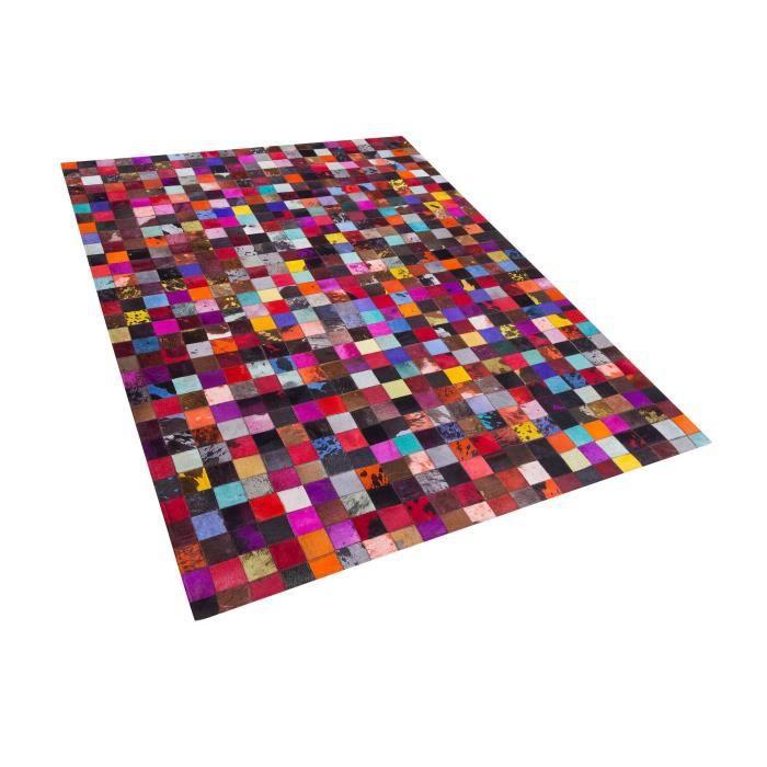 tapis patchwork multicolore en cuir 160x230 cm enne - Tapis Patchwork
