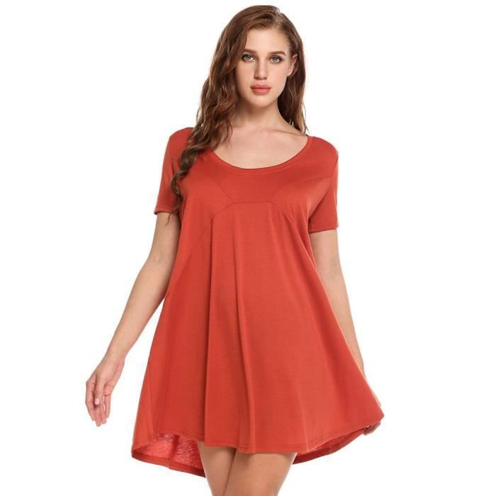 Robe Casual pull Manches solide O courtes Femme encolure rr5Axq8p