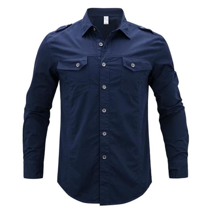 6f218ac8cb0d4 Chemise Homme Grande Taille Manches Longues Casual Chemise Coupe Droite