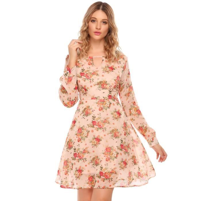 Robe en mousseline A Line Femmes à manches Longues imprimé floral O Cou