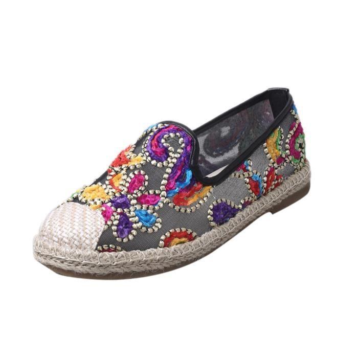 Femmes Casual Slip sur chaussures de loisirs en dentelle souple fond plat respirant blanc