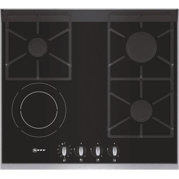 table de cuisson mixte gaz vitro 60cm noir t66m6 achat vente plaque mixte cdiscount