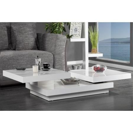 Table Basse Design Triple Rectangle L Blanc Hig Achat Vente