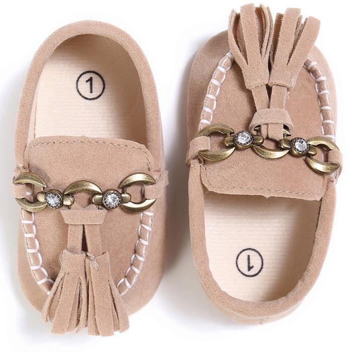Frankmall®Bébé mignon chaussures de berceau glisser chaussures confort mocassins douce premarcher anti-dérapantes KAKI#WQQ0926225 HAjNIM
