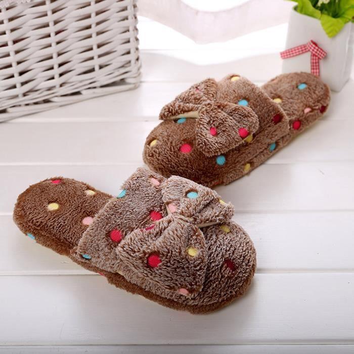 Napoulen®Femmes hiver chaussures à la maison fausses fourrure pantoufles CAFE-SDM70912260CO