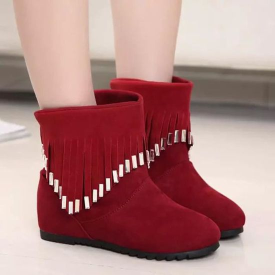 Femmes Martin Mules Tassel Casual Bas Bottines Plates Chaussures Bottes Pageare544 Ygybf6vI7m
