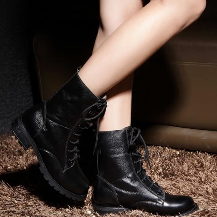 Militaires courtes Bottes Chaussures bottes de cuir Mode féminine