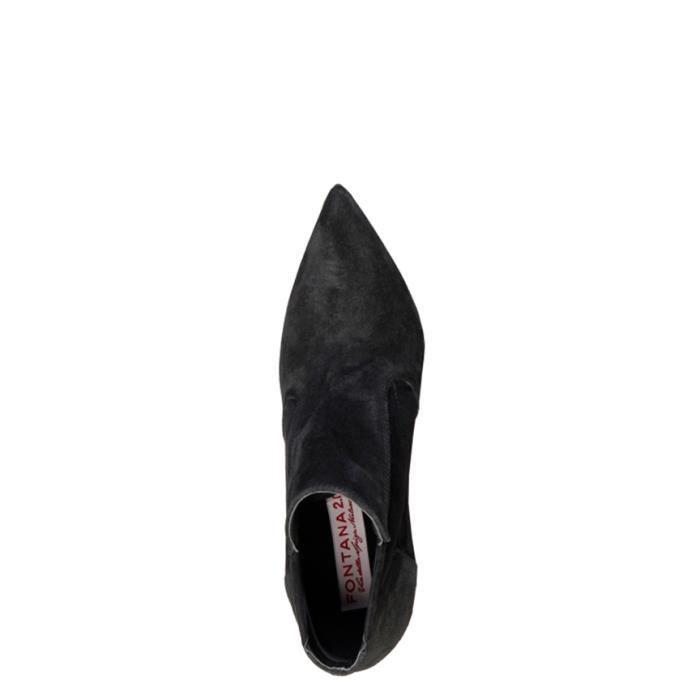 Fontana 2.0 - Bottines en cuir noir Francy talon -Hauteur: 10,5cm