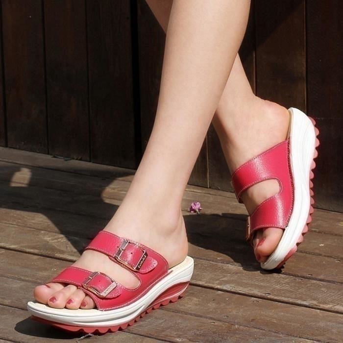 Été Nouveau Femmes Sandales Mode Chaussures Compensées dames blanches sexy Slipper en cuir,rouge,37