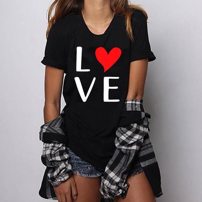 T T Size shirt Chemisier Tops Noir Filles Courtes Manches Plus Print shirts Femmes vTwIC