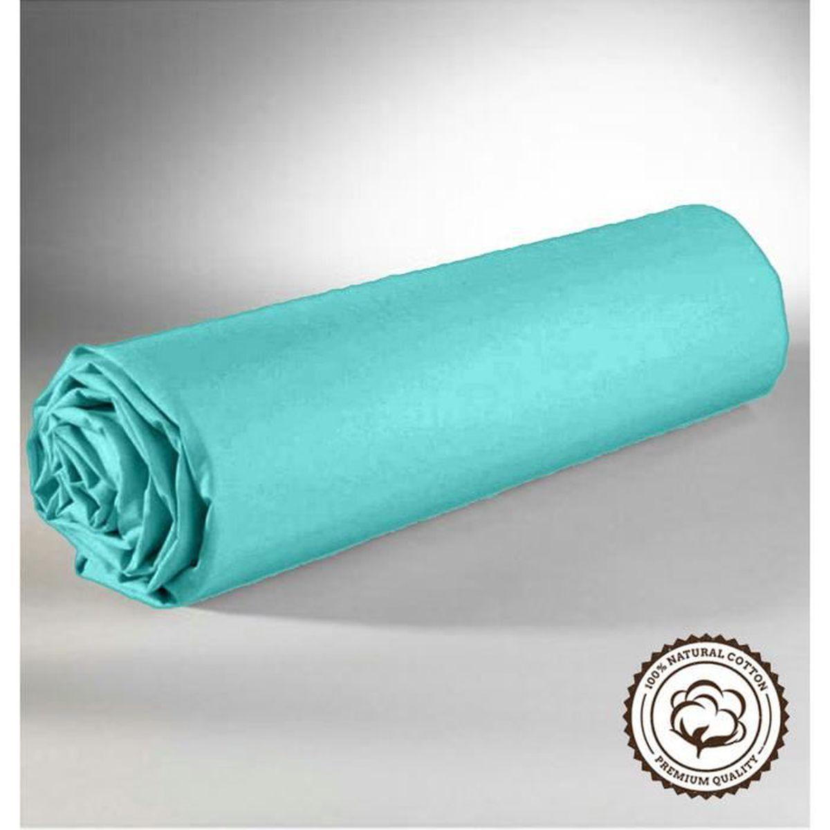 Drap Housse   Turquoise  160X200 cm   100 % Coton  2 Personnes