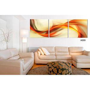 OBJET DÉCORATION MURALE 3 panneaux abstraits lignes mur art toile peinture