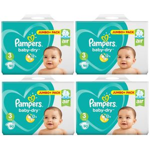 COUCHE Pampers Baby Dry Taille 3 Midi 6-10kg Jumbo Plus P