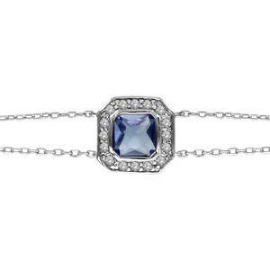 Bracelet argent rhodié pierre forme carré bleue co