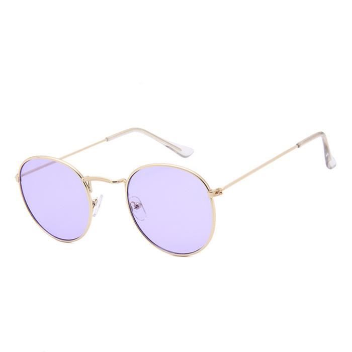 Lunettes de soleil mixte homme et femme rondes en Retro de Métal Cadre sunglasses marque de Luxe Golden/ Violet clair