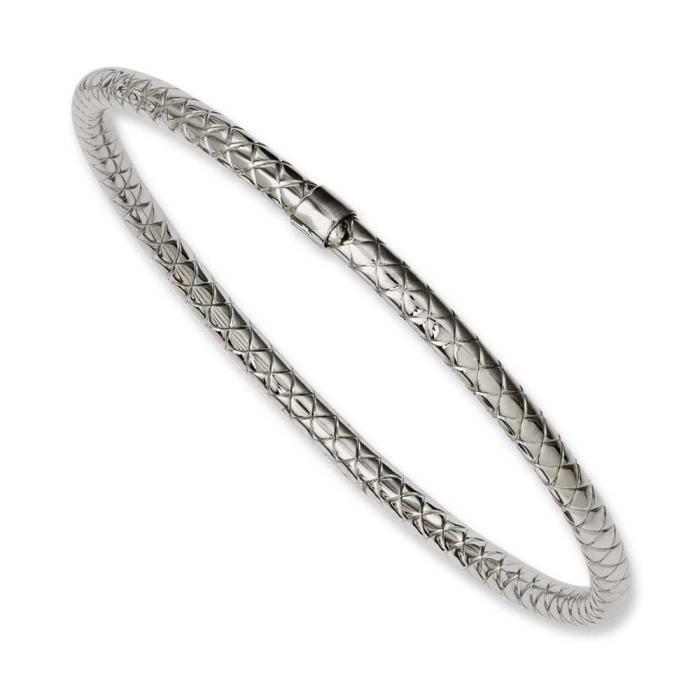 Inox poli et texturé dérapante Bracelet creux