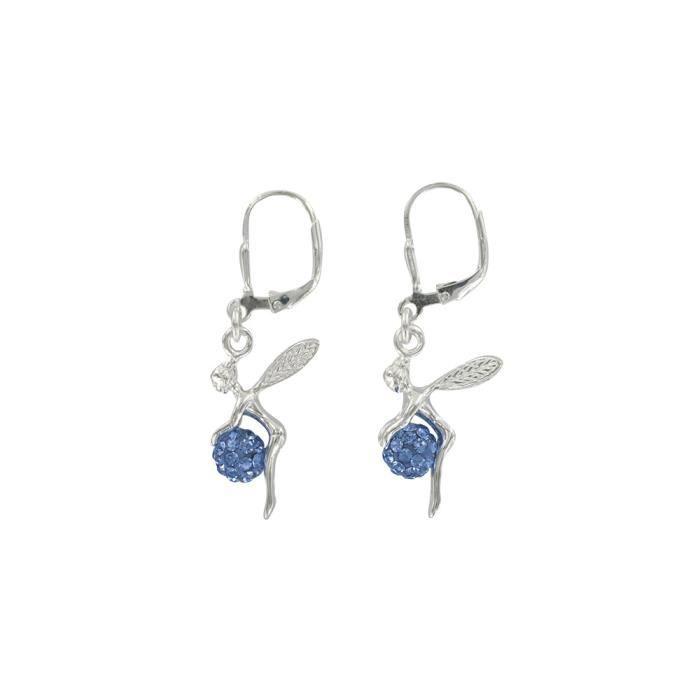 Jouailla - Boucles doreilles argent rhodié 925-1000e et Oxyde de Zirconium - Bleues