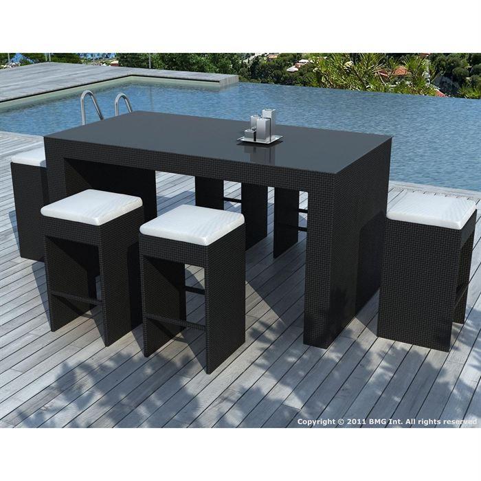 Salon de jardin Noire coussin Blanc - SD8301 - Achat / Vente salon ...
