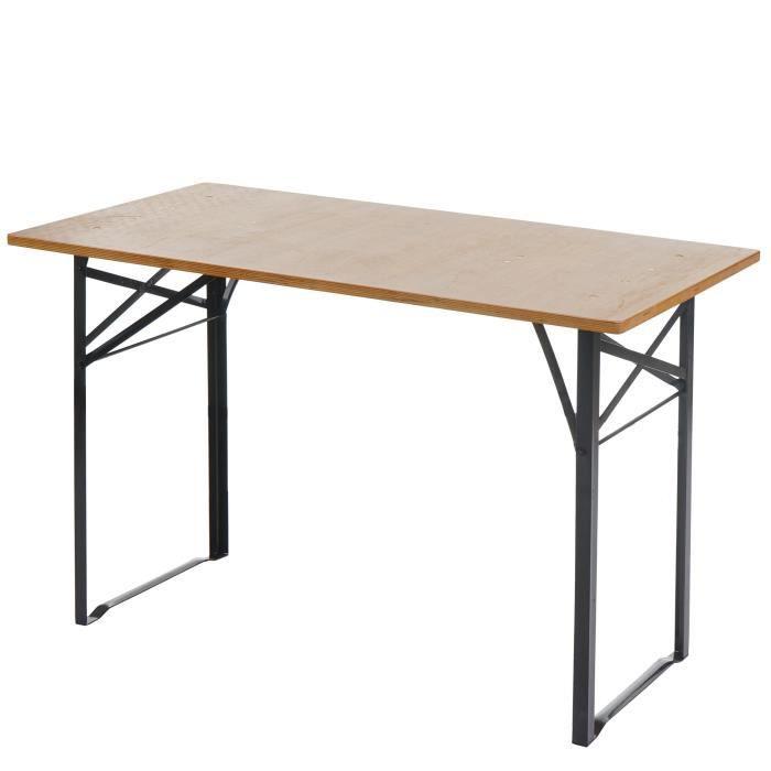 TABLE DE JARDIN PLIABLE 4 PLACES BASCHE - BOIS NATUREL L.115CM ...