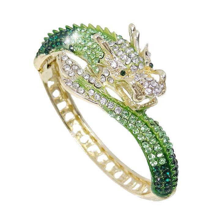 EVER FAITH® Cristal Autrichien Dragon Bracelet Manchette Spécial Vert Plaqué Or A07924-9