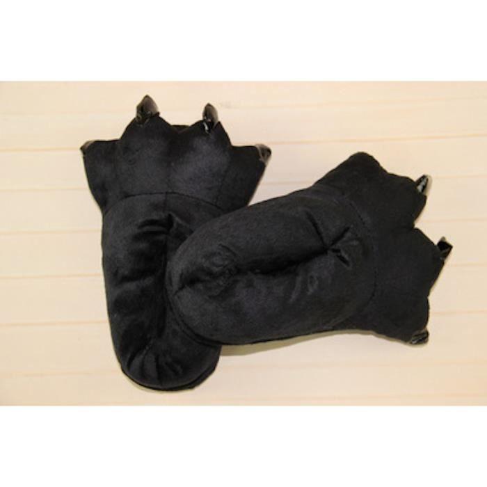 Chaussons Pantoufles Homme/Femme pour Adultes Chaussures D'hiver Chaudes, 40-44 (Noir)