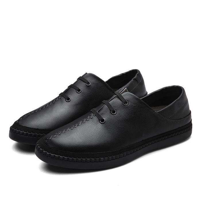 SHELOVEIT® En cuir Chaussures Hommes À la main Casual Feuillet Sur
